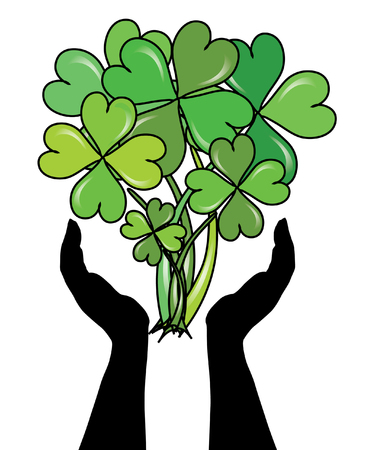 human hands caring clovers bouquet for St. Patrick's Day Stock Vector - 8921153