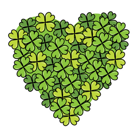 clovers heart for St. Patricks Day Vector