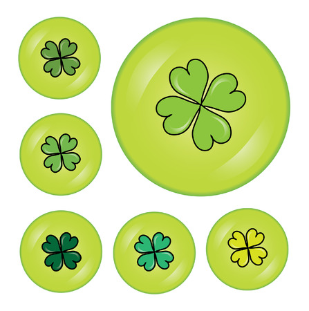 set of 6 buttons with four leaf clovers for St. Patrick's Day Stock Vector - 8970873