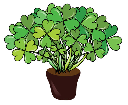abstract pot with four leaf clovers for St. Patricks  Day Vector