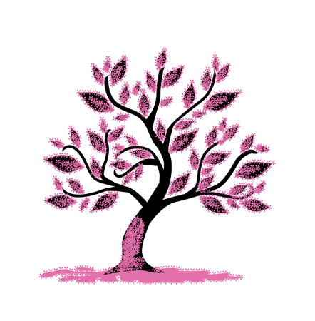 abstract pink floral tree, symbol of nature