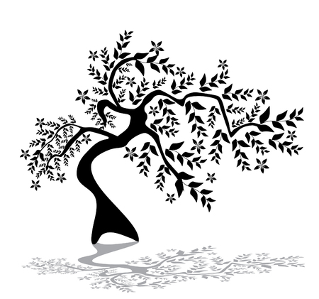 abstract floral tree silhouette, symbol of nature Stock Vector - 9029477