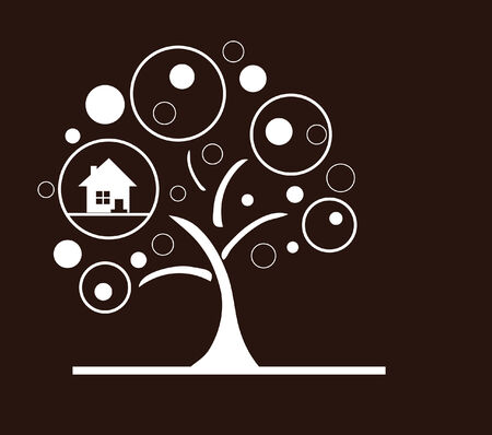 protection concept: abstract tree with home, nature protection concept