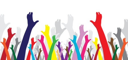 multicolor human hands, symbol of diversity Stock Vector - 9104768