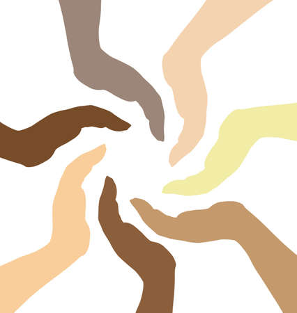 human hands caring each other, protection concept Vector