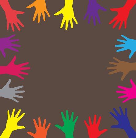 participacion: manos humanas multicolores, s�mbolo de la diversidad en la sociedad
