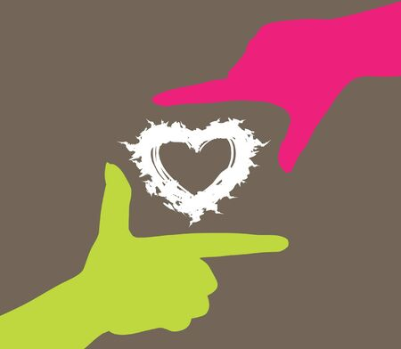 human hands caring heart, symbol of love Vector