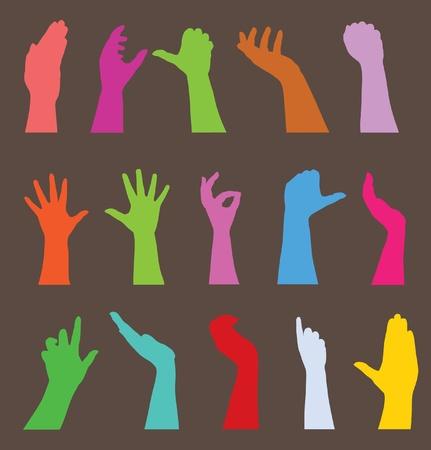 participacion: conjunto de 15 siluetas de manos humanas, s�mbolo de la diversidad