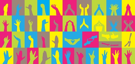 set of 41 human hand silhouettes, symbol of diversity Stock Vector - 9120639