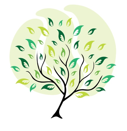 abstract green tree, symbol of nature Vector