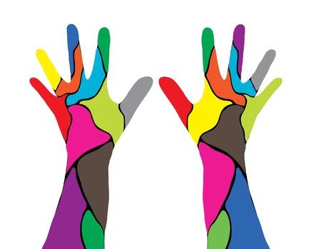 diversity: abstract human hands, symbol of diversity Illustration