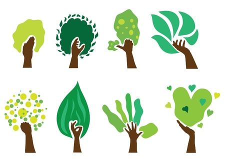 set of 8 abstract green hand trees, nature symbols Illustration