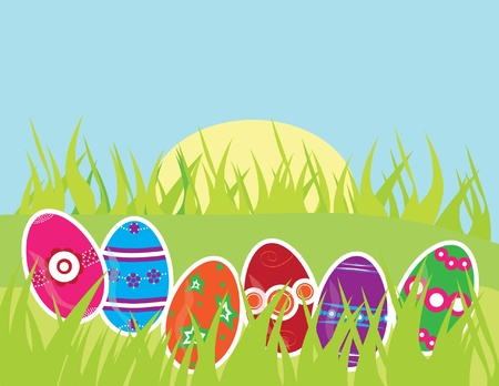 Easter greeting card with multicolor decorated eggs and space for text Stock Vector - 9208914