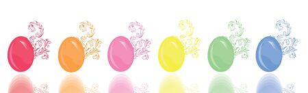 set of 6 floral decorated eggs, symbols of Easter Stock Vector - 9209252