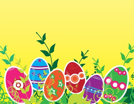 Easter greeting card with multicolor decorated eggs, green grass and space for text Vector