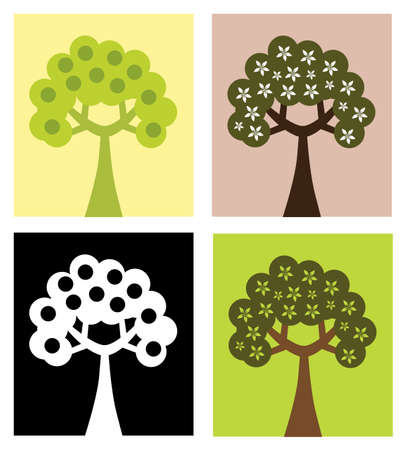set of abstract tree silhouettes, symbols of nature Stock Vector - 9378670