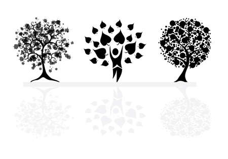 set of abstract trees, symbols of nature Stock Vector - 9378676