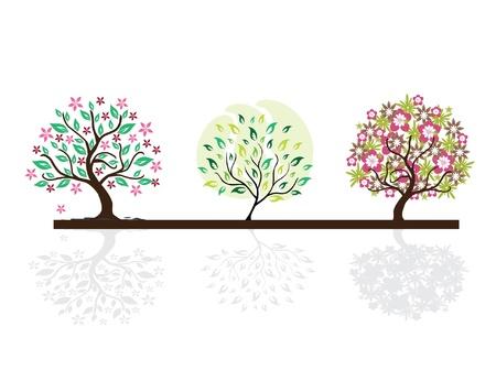 Set di sagome astratte albero floreale, simboli della natura Archivio Fotografico - 9411623