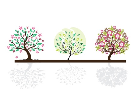 set of abstract floral tree silhouettes, symbols of nature Illustration