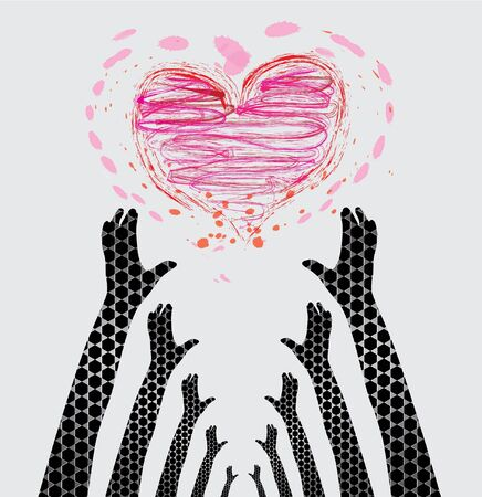 human hands caring heart, symbol of love protection Vector