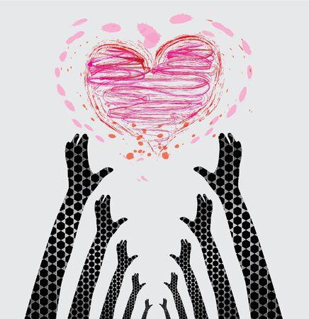 participacion: protecci�n de manos humanas cuidado de coraz�n, s�mbolo de amor Vectores