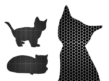 texturized: texturized cat silhouettes set for your design