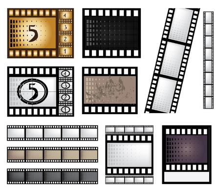 vector film strip set with elements for your design Stock Illustratie