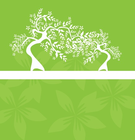 floral tree invitation for life events with place for text, in white green colors Stock Vector - 9720131