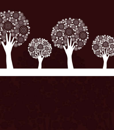 hand tree invitation for life events with place for text, in white brown colors