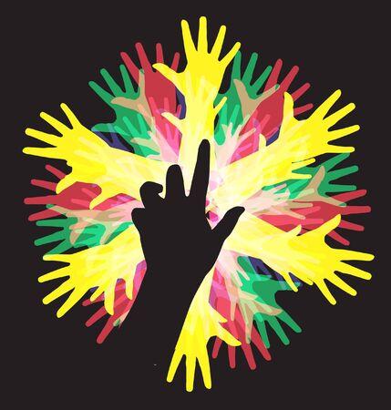 human hands, symbol of diversity Stock Vector - 9745476
