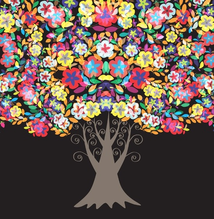 multicolor floral tree, symbol of nature Stock Vector - 9775752
