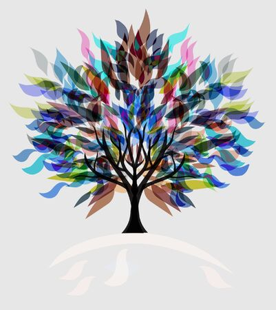 abstract multicolor tree, symbol of nature Vector