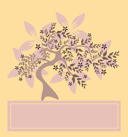 floral tree invitation for life events with place for text, in soft pink brown colors Vector