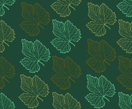 seamless pattern with grape leaves for your background Vector