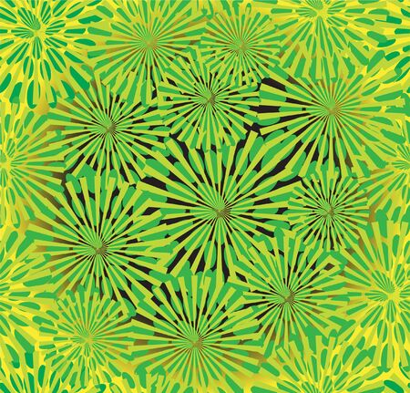 seamless pattern with green abstract flowers for your background Vector