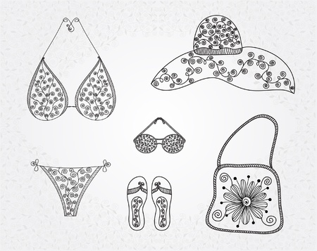 collection of summer beach elements with floral ornament Vector