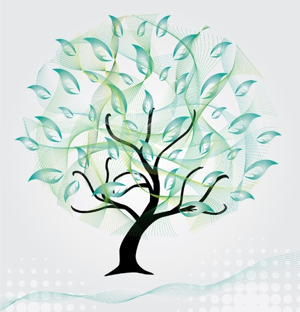 abstract artistic green tree, symbol of nature Vector