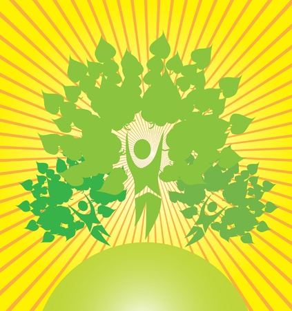abstract trees, symbol of nature protection Illustration
