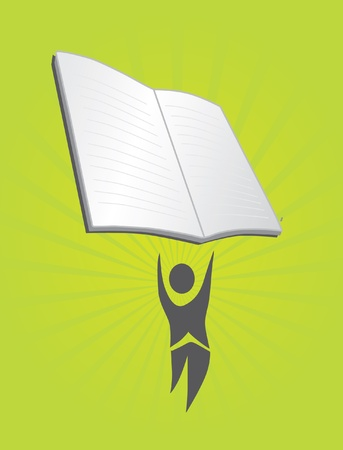 conept: abstract human silhouette with open book, education concept Illustration