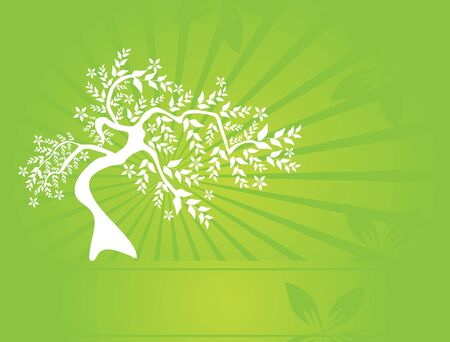 floral tree invitation for life events with place for text Vector