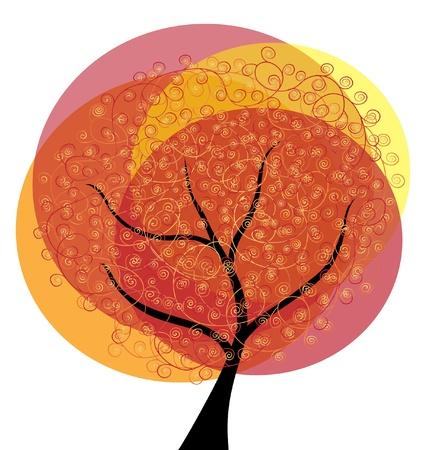 abstract autumn tree, symbol of nature