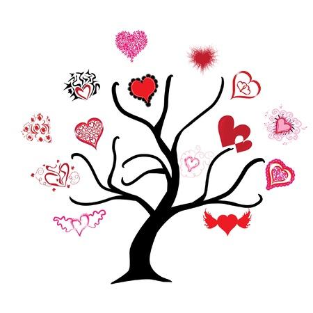 absract: absract albero con bellissimi cuori, simbolo dell'amore