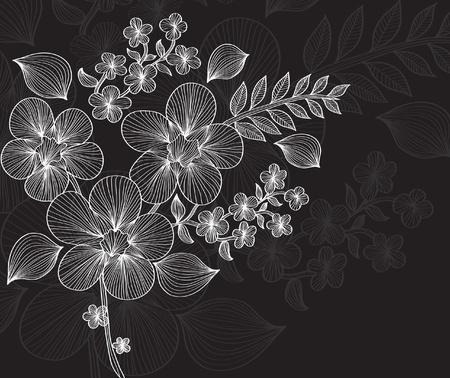 kézzel rajzolt virág meghívót életesemények helyet a szöveges Illusztráció