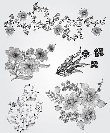 hoekversiering: set van decoratieve florale elementen voor uw ontwerp