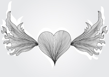 abstract hand drawn romantic heart with wings for valentine's day Stock Vector - 12056162