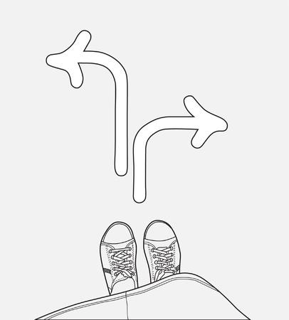 cruce de caminos: joven de pie en el cruce, la elecci�n de direcci�n