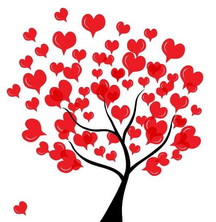 Abstract Love Baum zum Valentinstag, in Farben rot schwarz Lizenzfreie Bilder - 12056184