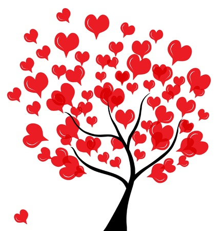 abstract love tree for valentines day, in red black colors Illustration