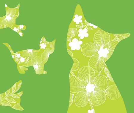 set of beautiful floral cats in green colors Vector