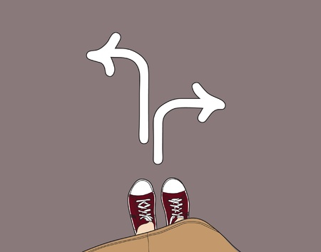 dilemma: young person standing at the crossroad, choosing right direction Illustration